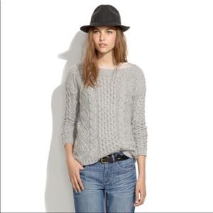 Madewell Boatneck Cable Knit Oversized Pullover